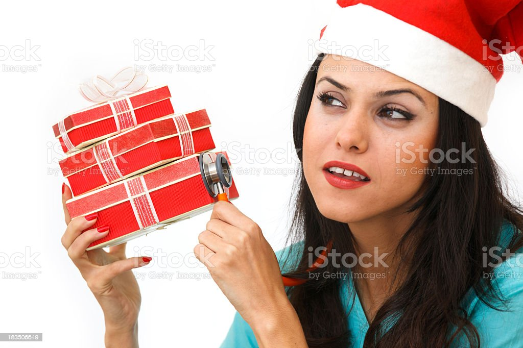 Doctor and gift boxes royalty-free stock photo