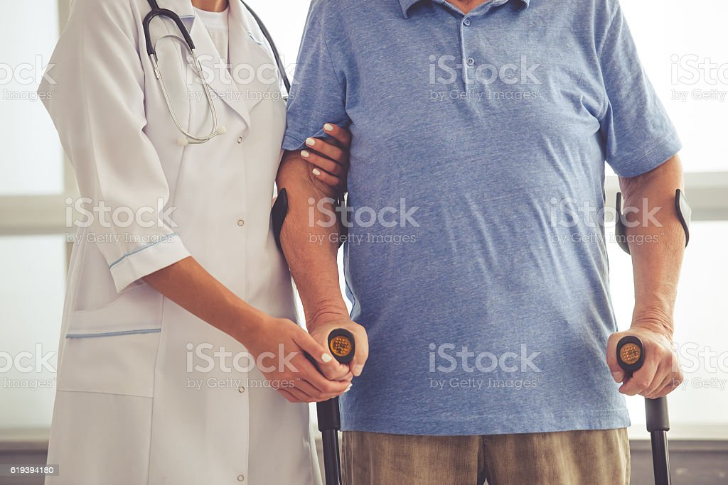 Doctor and old people stock photo