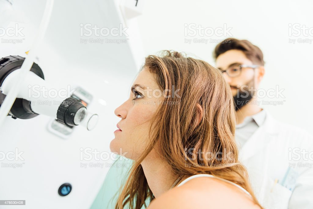 Doctor and patient ready for aerosol stock photo