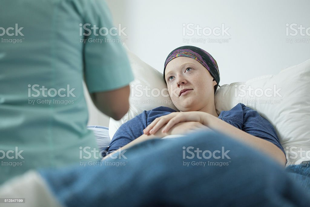 Doctor and patient with cancer stock photo