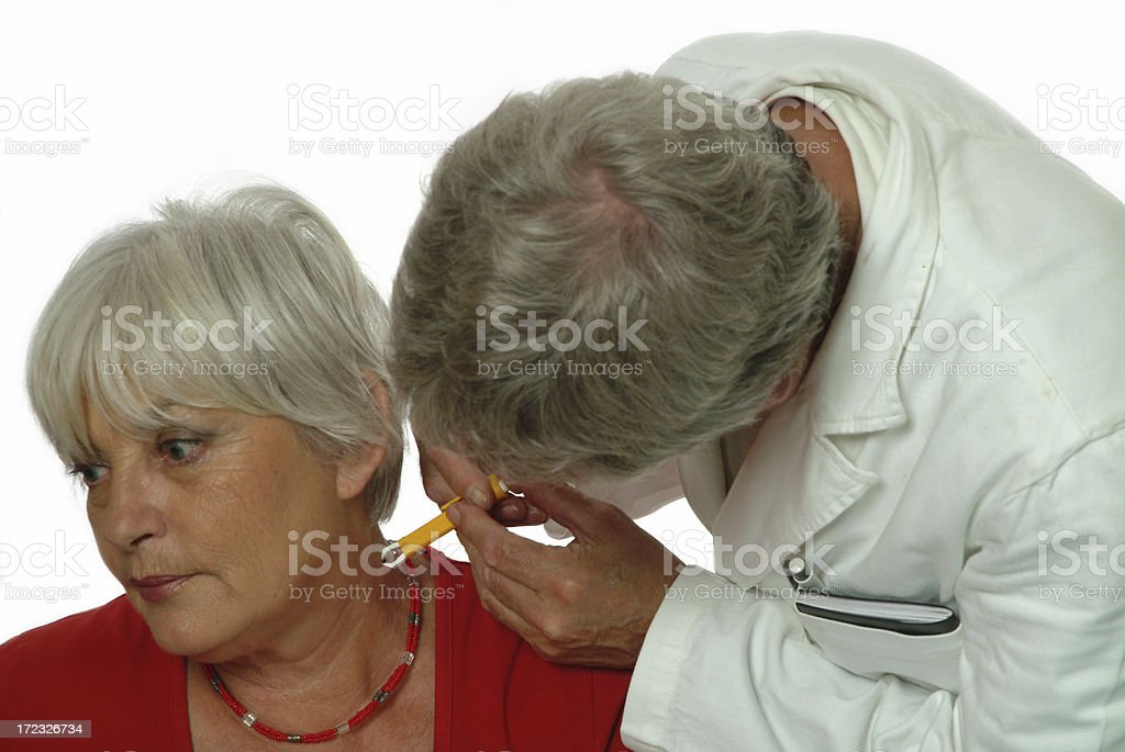 Doctor and senior patient Removing tick 2 royalty-free stock photo