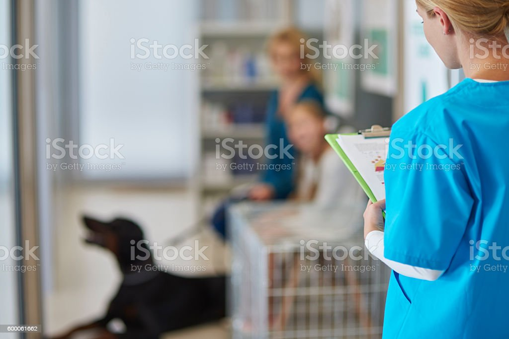 Doctor asking next client from the queue stock photo