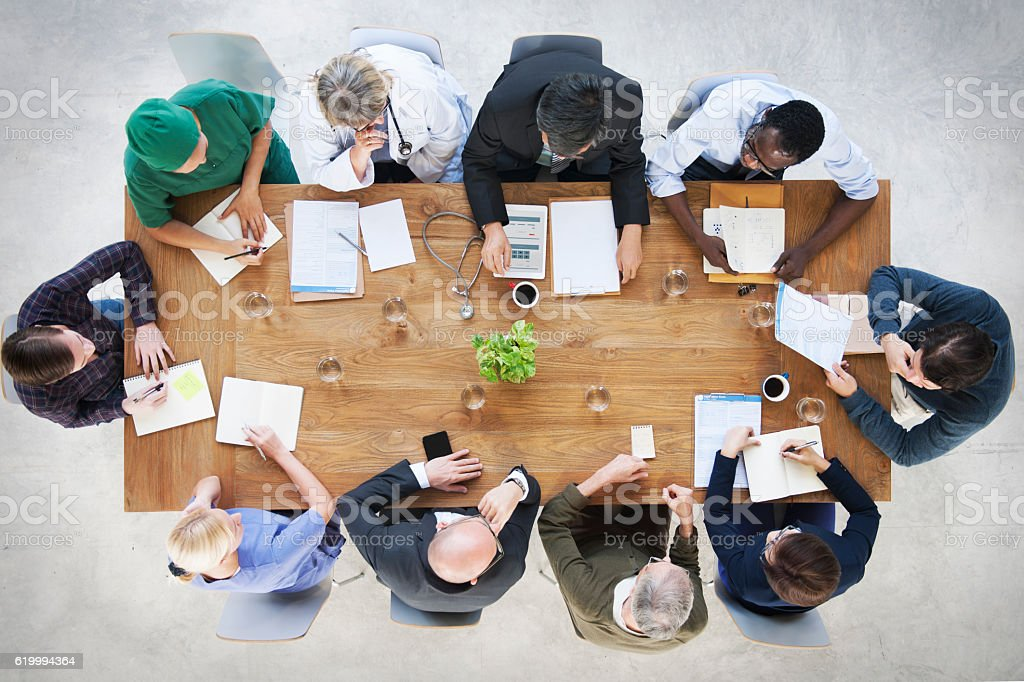 Doctor Brainstorming Diagnosis Medication Treatment Plan Concept stock photo