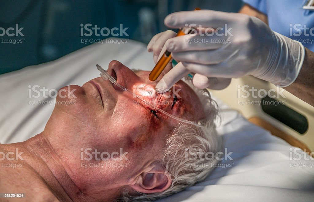 Doctor checking patient stock photo