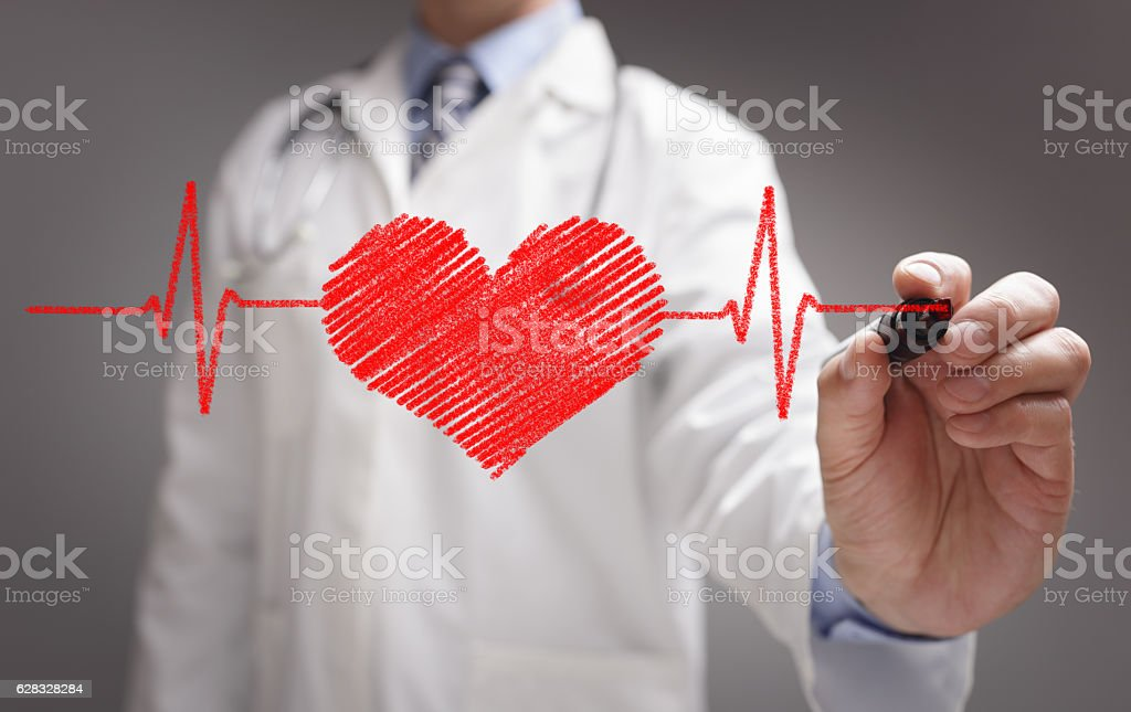 Doctor drawing ecg heartbeat chart stock photo