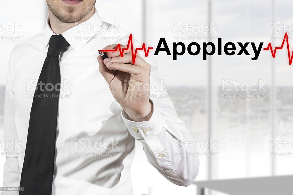 doctor drawing heartbeat line apoplexy stock photo