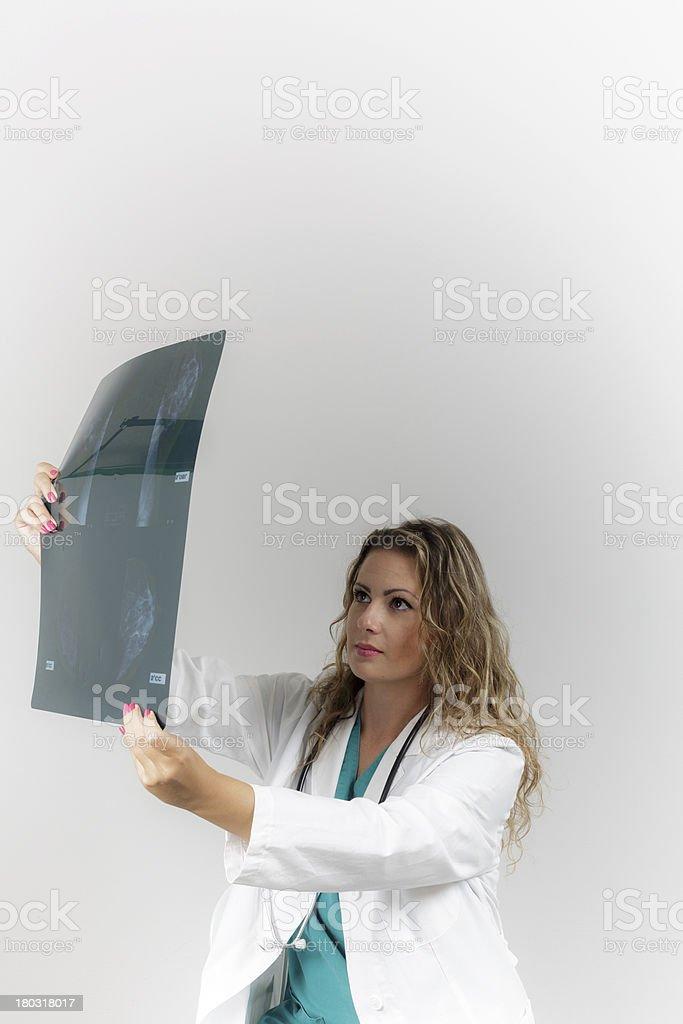 Doctor Examining An X-Ray Image royalty-free stock photo