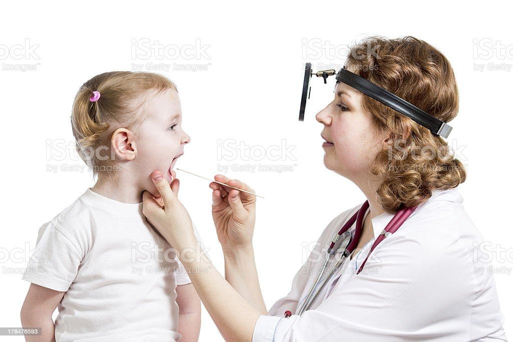 doctor examining baby girl stock photo