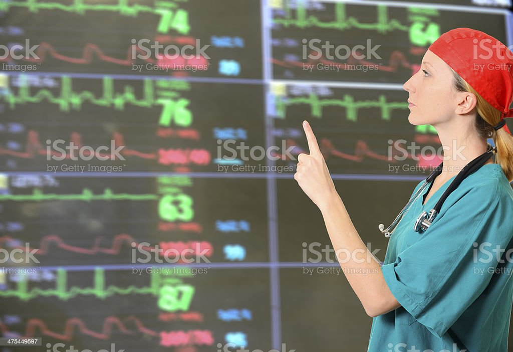 Doctor examining ECG monitor royalty-free stock photo