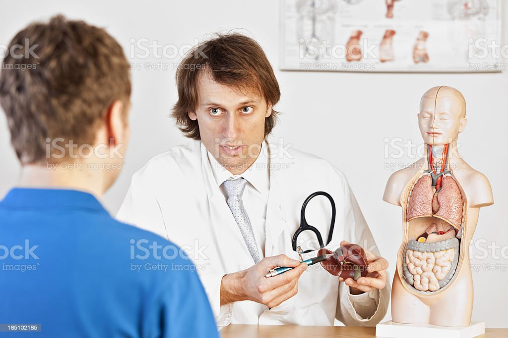 Doctor explaining liver problems stock photo