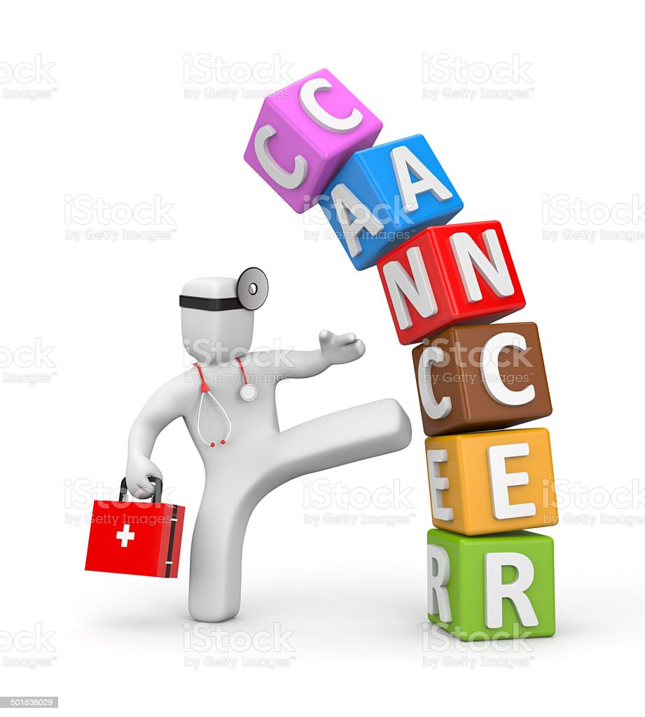 Doctor fights with cancer stock photo