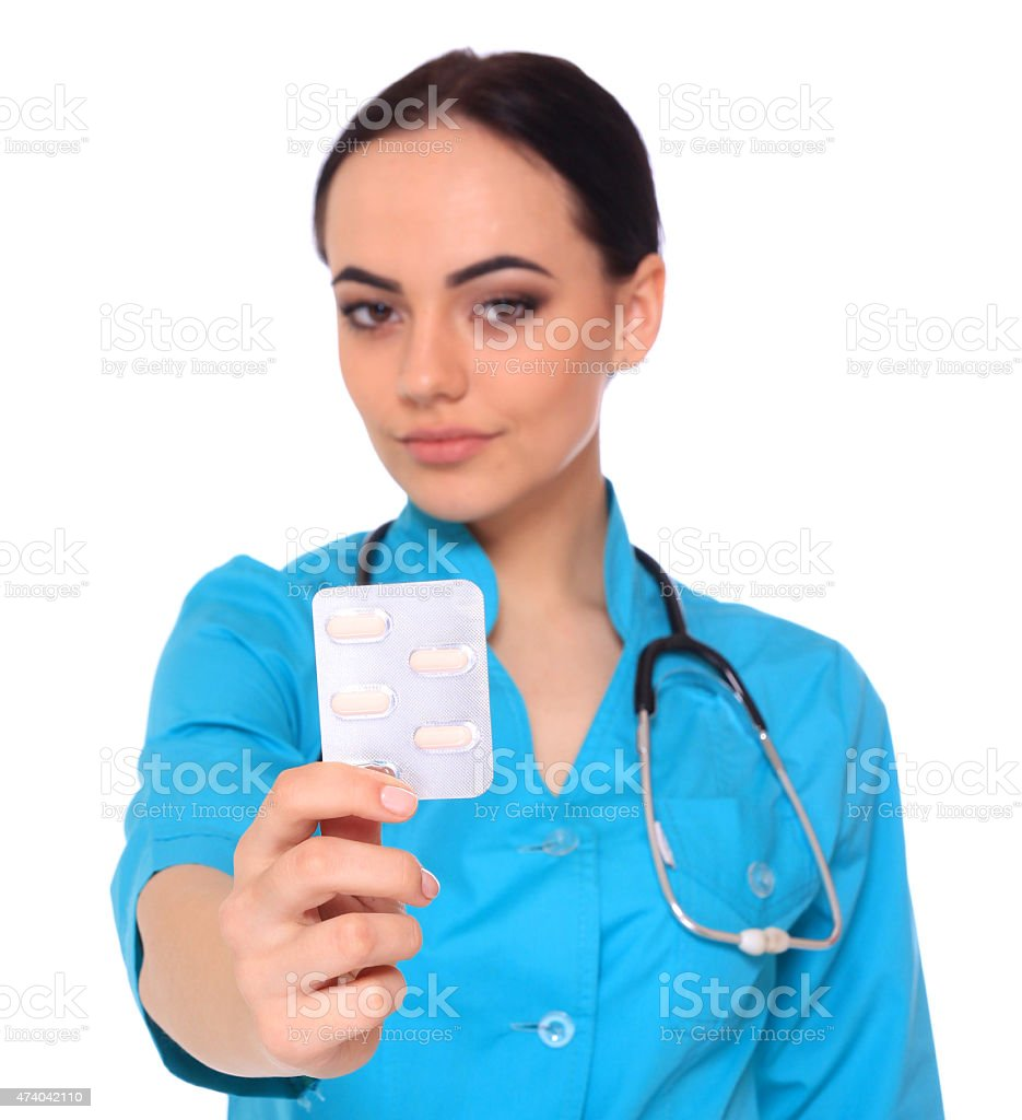 Doctor giving medicine pills. royalty-free stock photo
