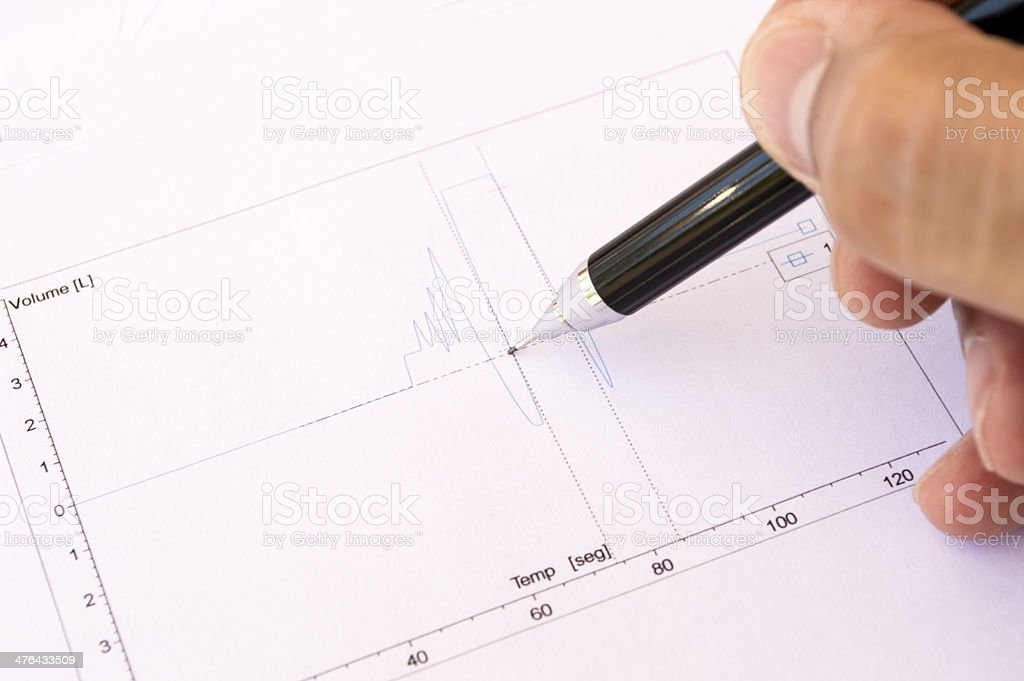 Doctor graph analyzing heart royalty-free stock photo