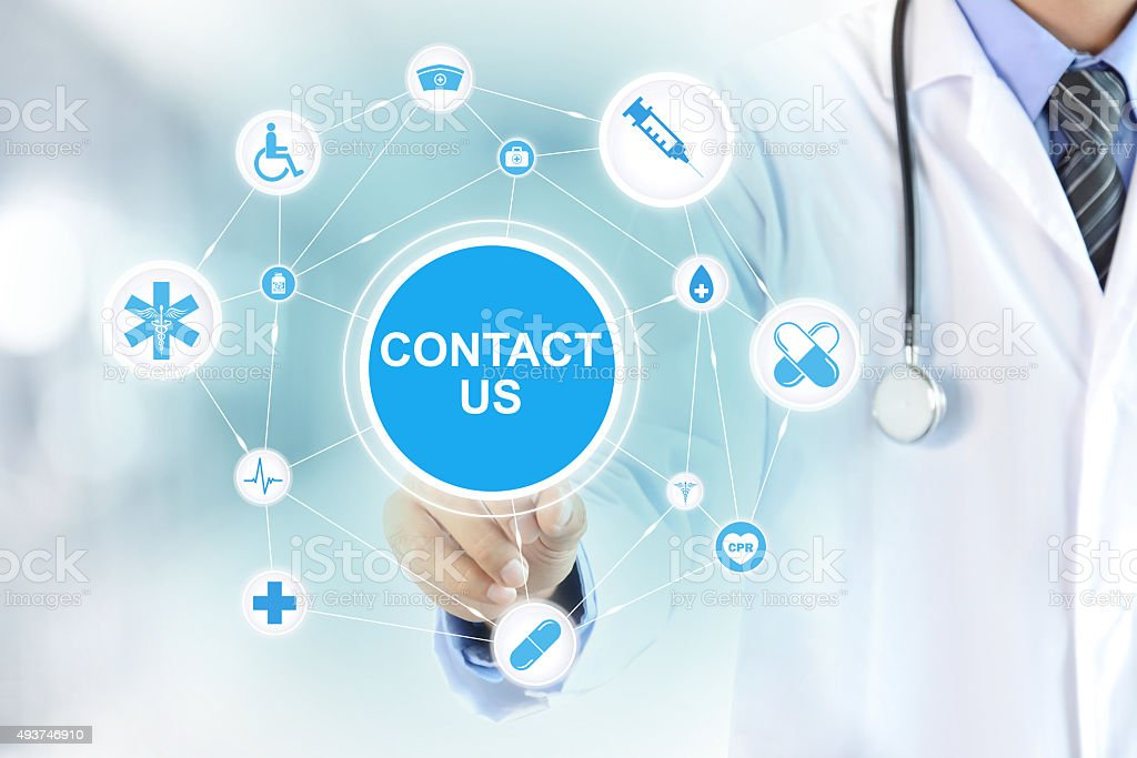 Doctor hand touching CONTACT US sign on virtual screen stock photo