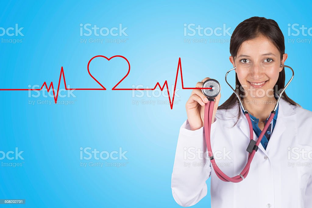 Doctor hand with stethoscope listening heart beat stock photo