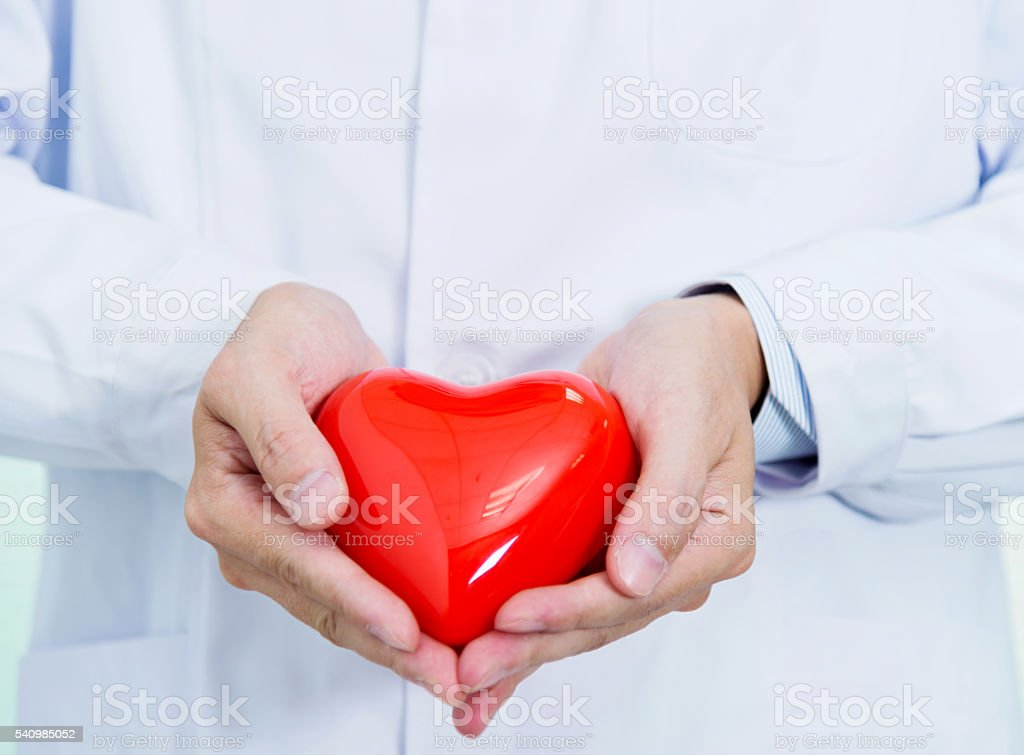 Doctor hands holding a red heart stock photo