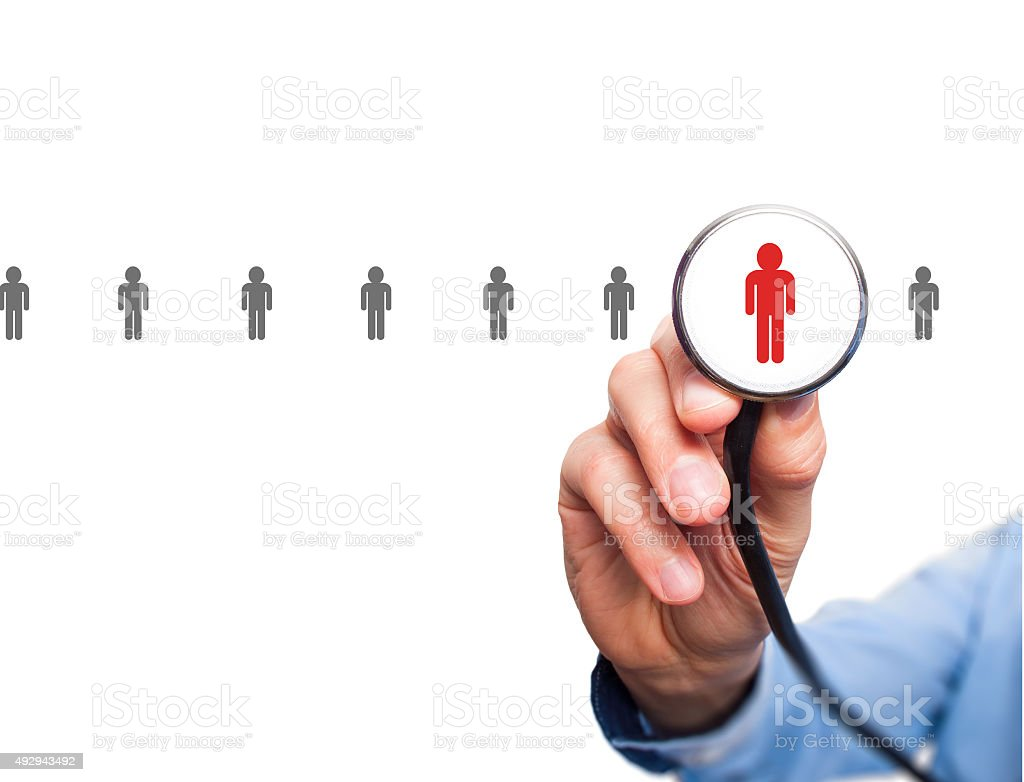 Doctor hiring personnel. Man hand with stethoscope. stock photo