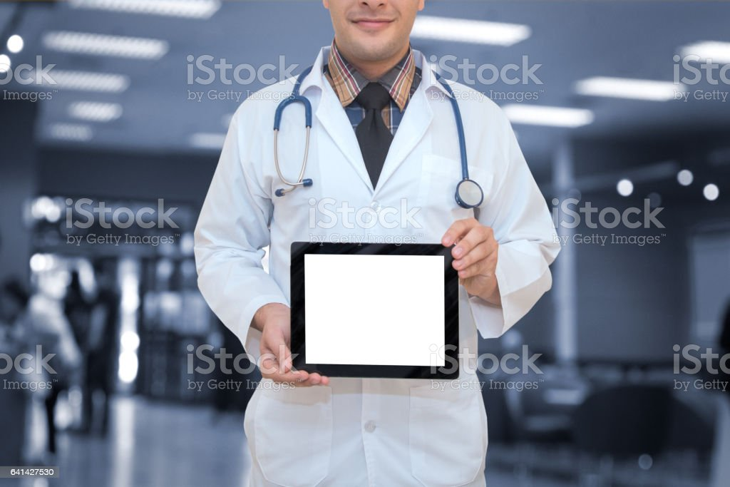 doctor hold tablet,medical and technology concept stock photo