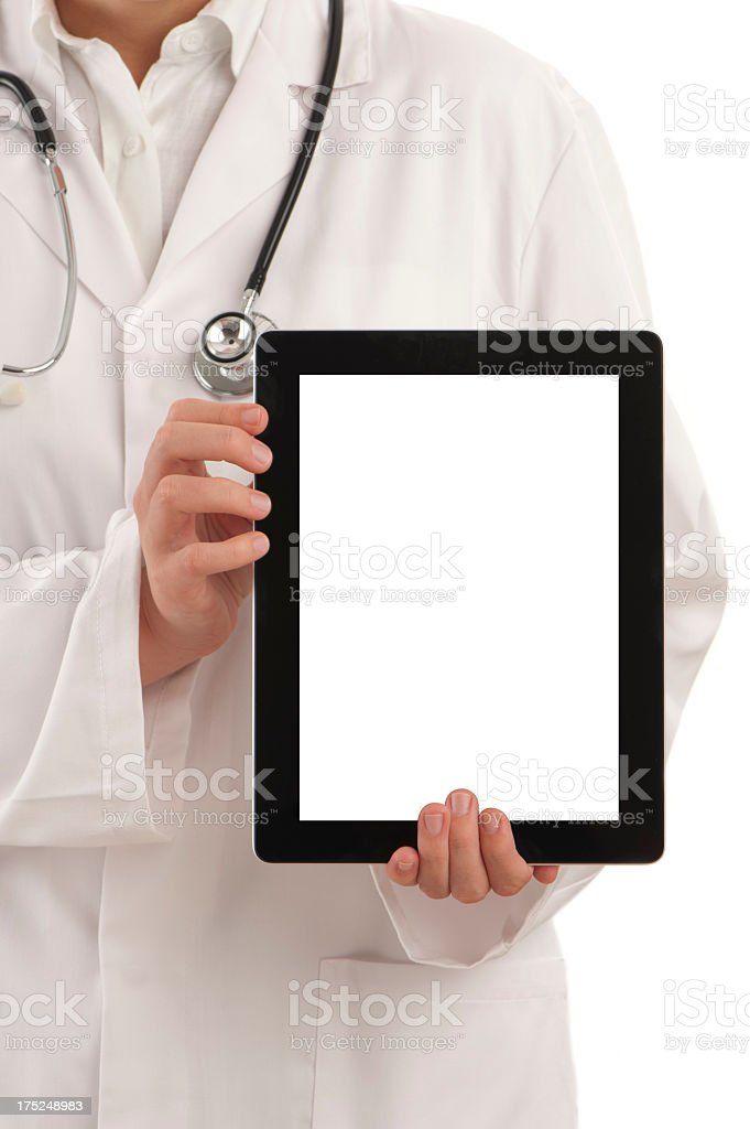 Doctor holding a blank digital tablet royalty-free stock photo