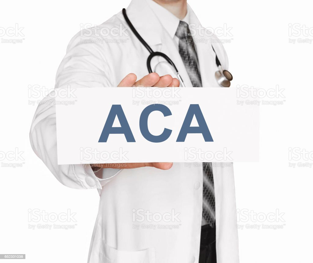 Doctor holding a card with ACA, medical concept stock photo