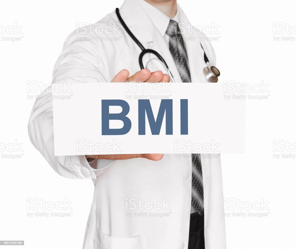 Doctor holding a card with BMI, Body Mass Index sign on white background stock photo