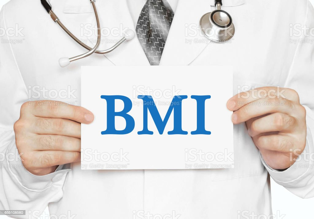 Doctor holding a card with BMI, medical concept stock photo