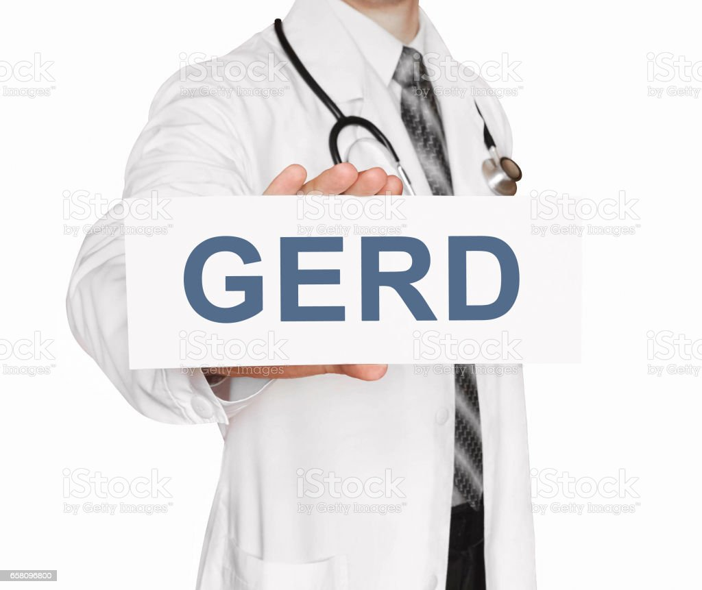 Doctor holding a card with GERD, Medical concept stock photo
