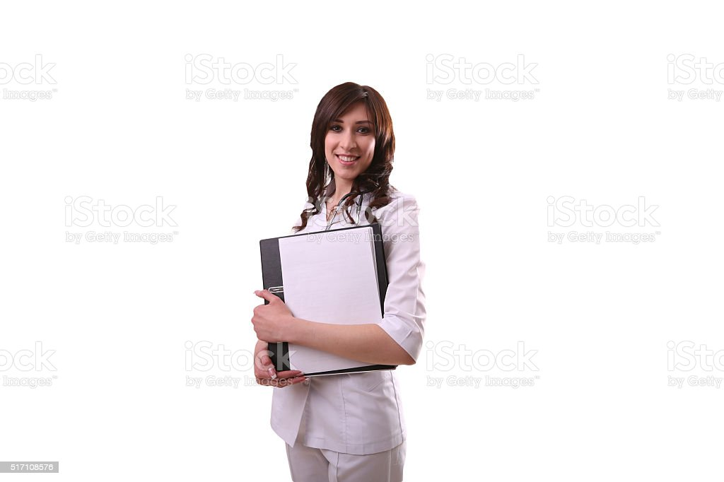 doctor holding a folder in hands and smiling royalty-free stock photo