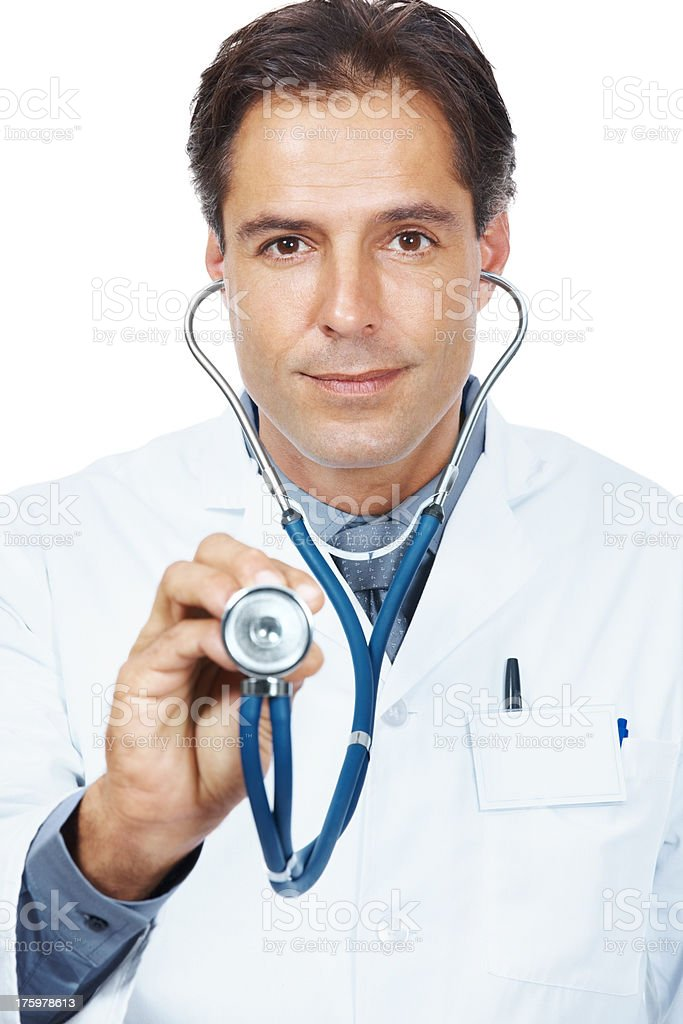Doctor holding a stethoscope for medical checkup stock photo