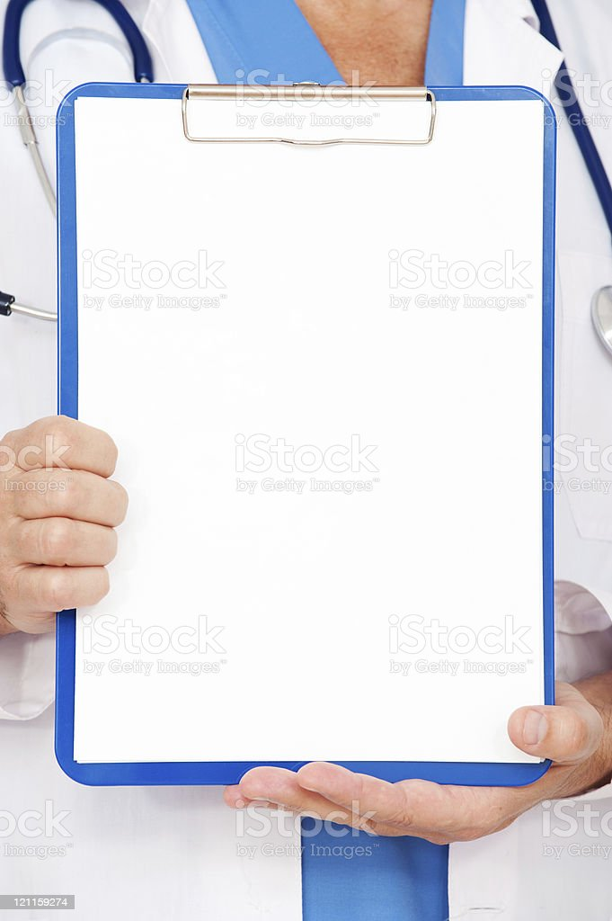 doctor holding ampty clipboard royalty-free stock photo