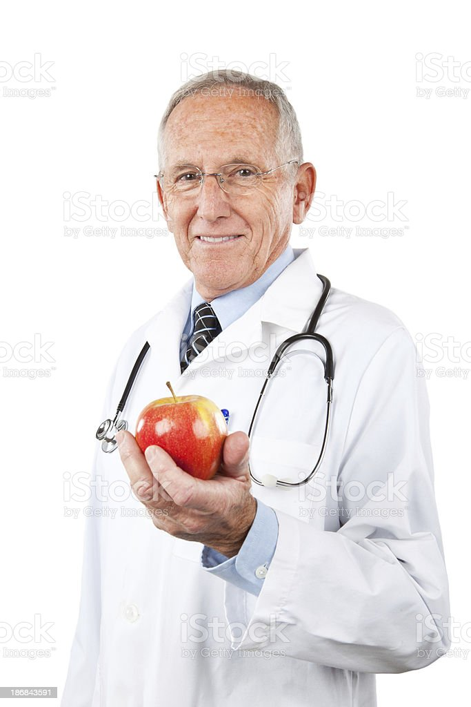 Doctor Holding apple royalty-free stock photo