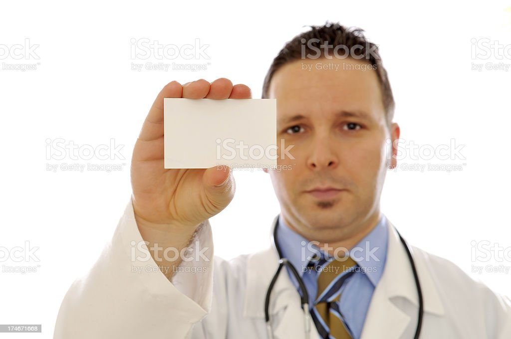 Doctor holding blank card royalty-free stock photo