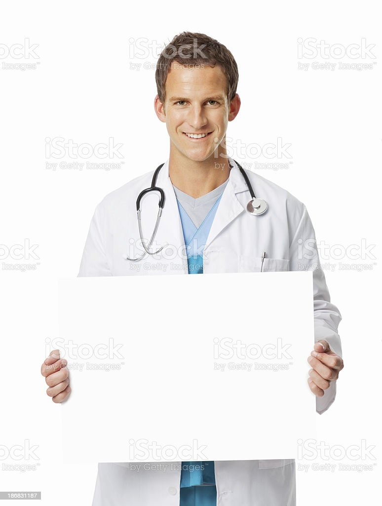 Doctor Holding Blank Sign - Isolated royalty-free stock photo