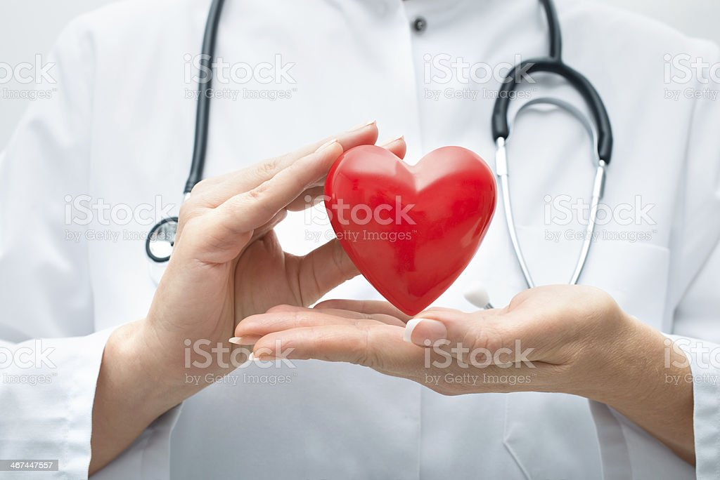 Doctor holding heart stock photo