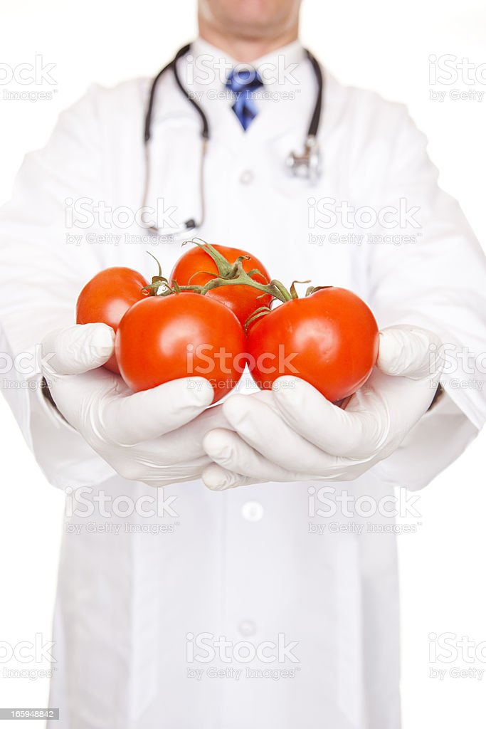 Doctor Holding Ripe Red Tomatoes royalty-free stock photo