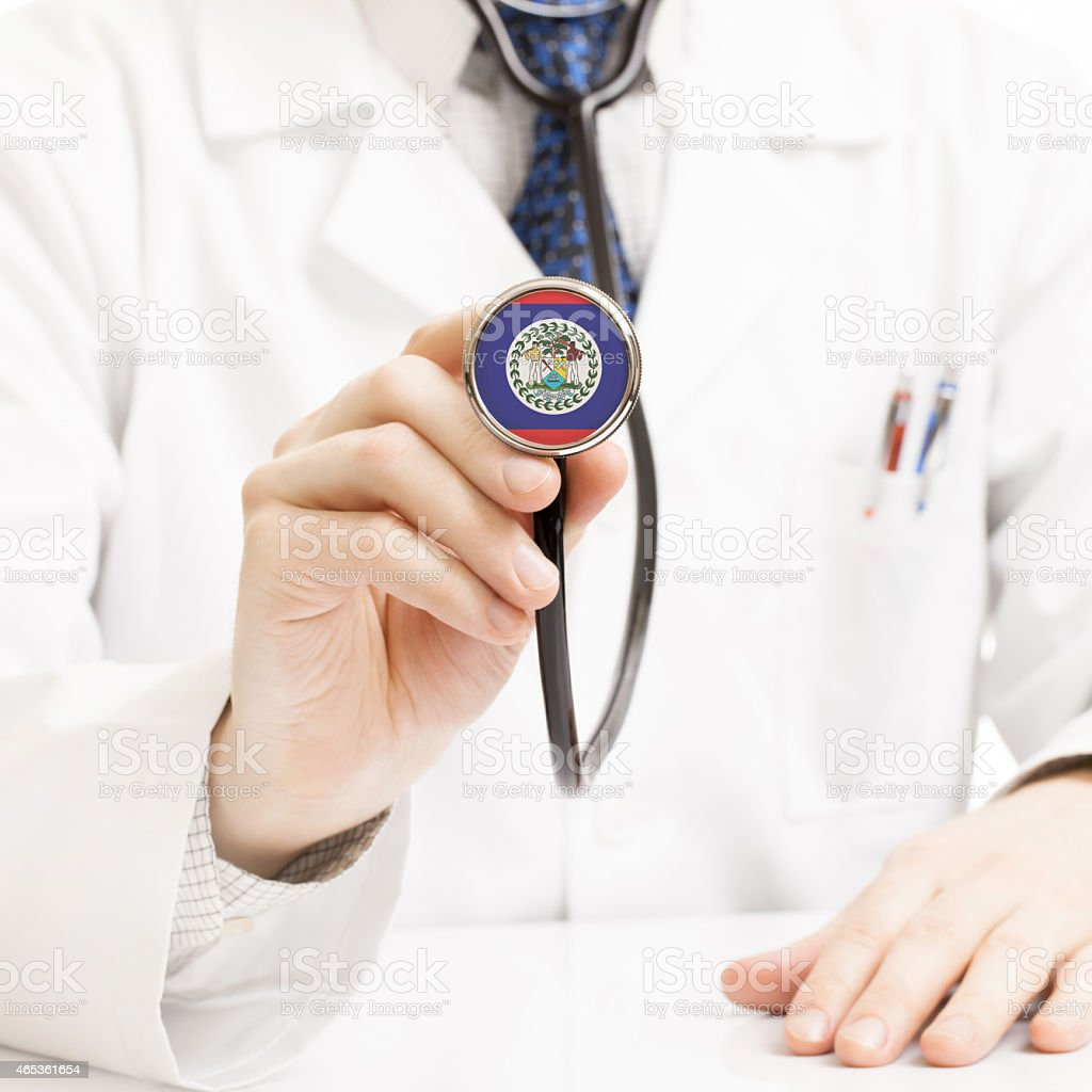 Doctor holding stethoscope with flag series - Belize stock photo