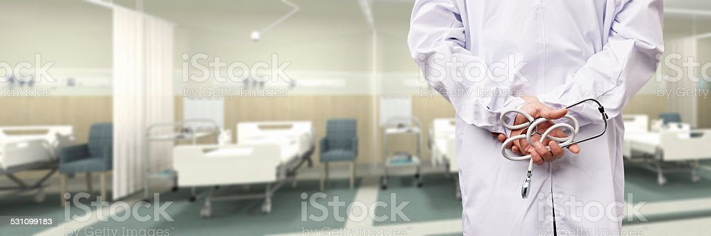 doctor in hospital ward stock photo