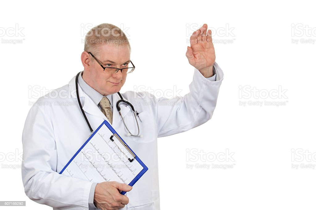 Doctor in white coat wearing glasses and stethoscope waving good stock photo