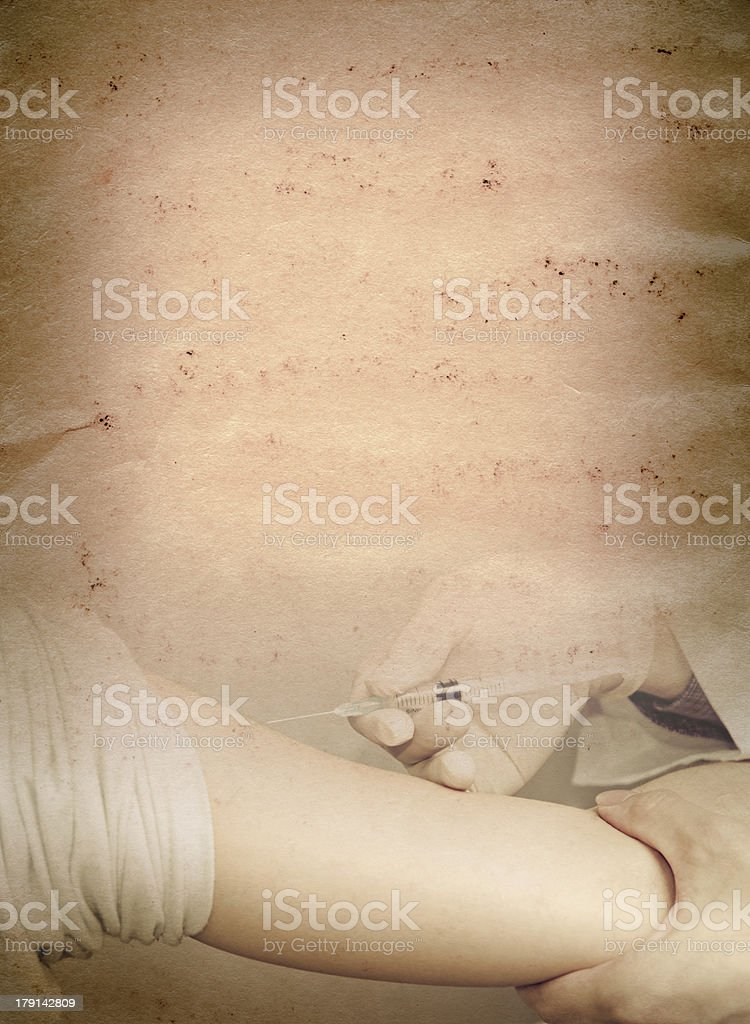 doctor injecting vaccination with patient hand  old grunge paper royalty-free stock photo
