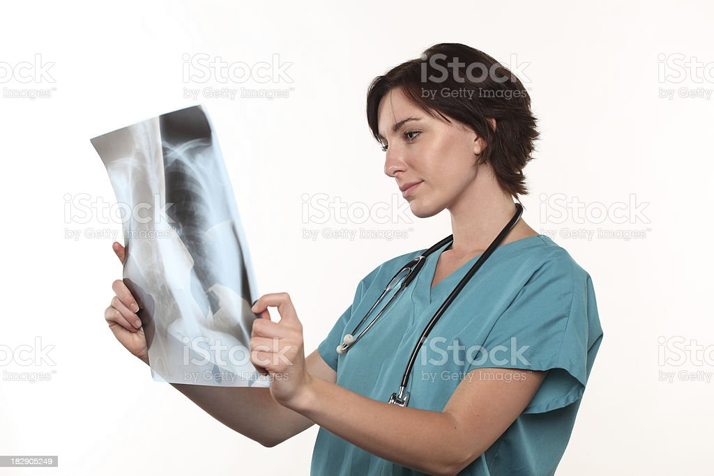 Doctor looking at lungs X-ray stock photo