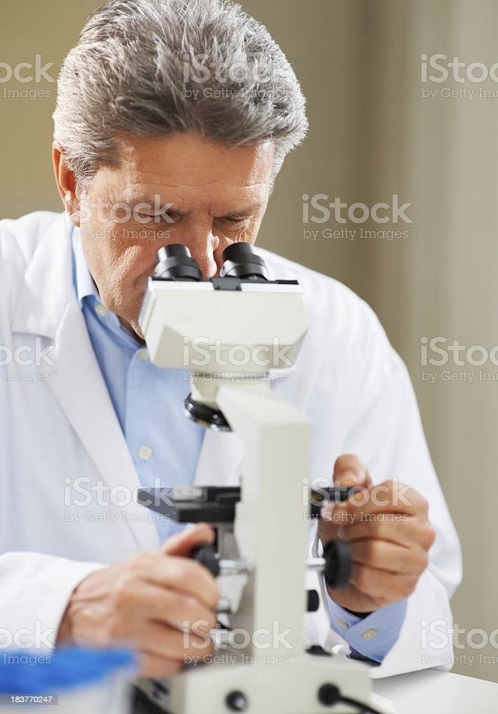 Doctor looking through a microscope royalty-free stock photo