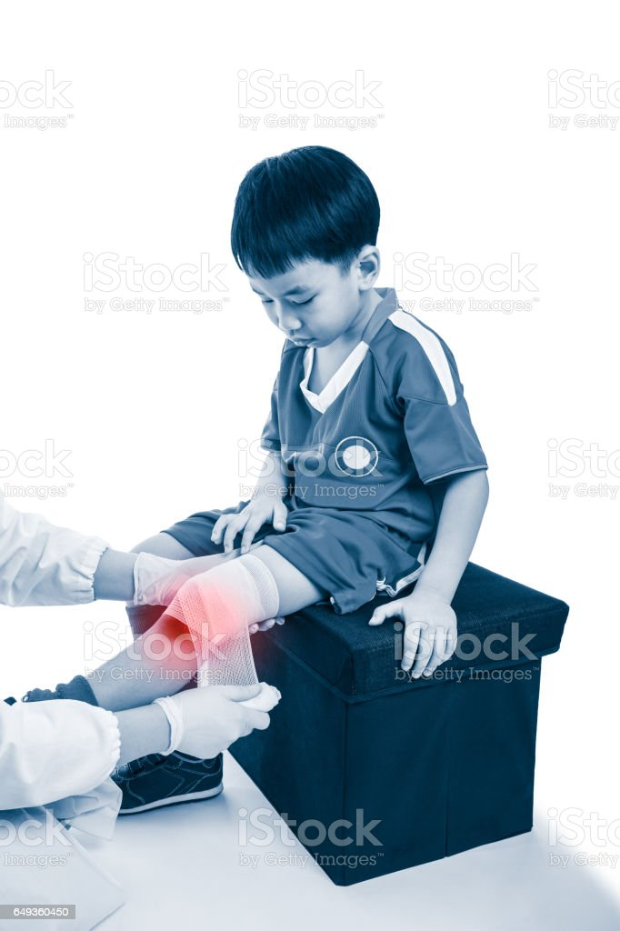 Doctor makes bandage on knee patient, on white background. stock photo