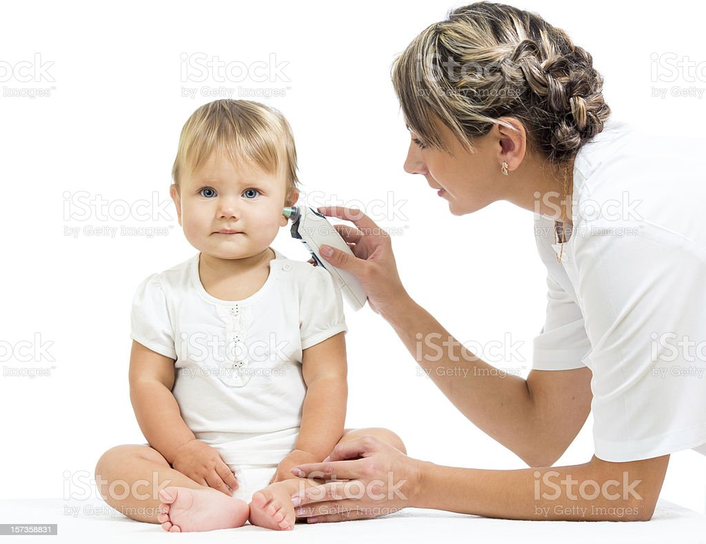 doctor measuring  temperature cute baby girl isolated on white stock photo