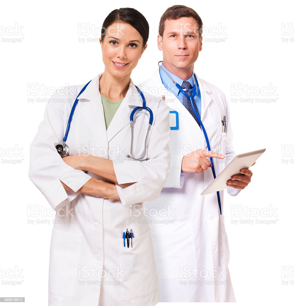 Doctor Nurse Holding Tablet Computer on White stock photo