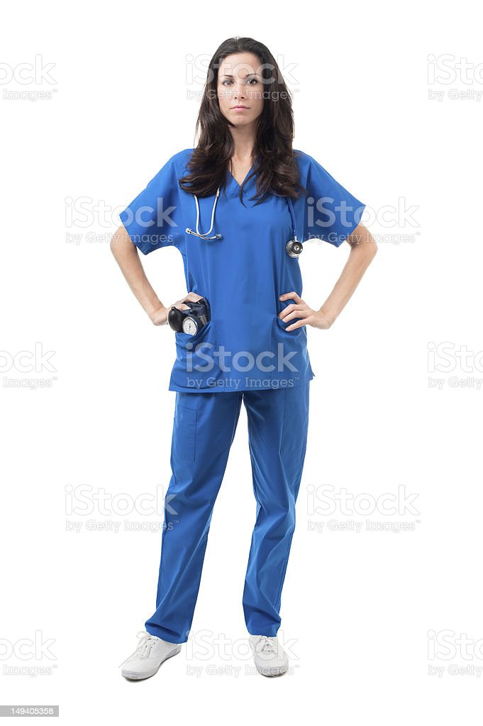 Doctor Nurse with Scrubs and Stethoscope Isolated on White Background royalty-free stock photo