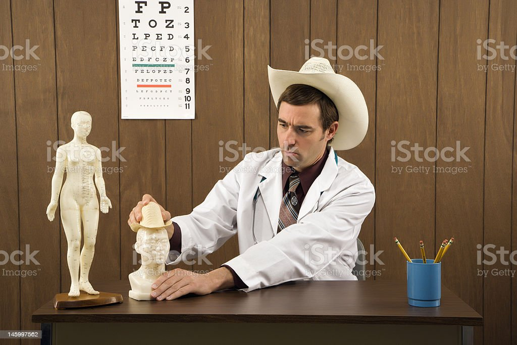 Doctor playing in office. royalty-free stock photo