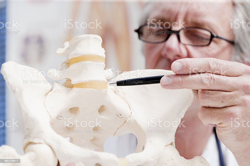 Doctor pointing at discus royalty-free stock photo
