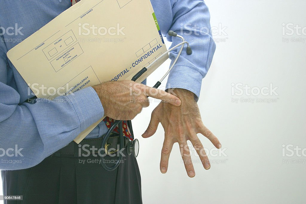 doctor points stock photo