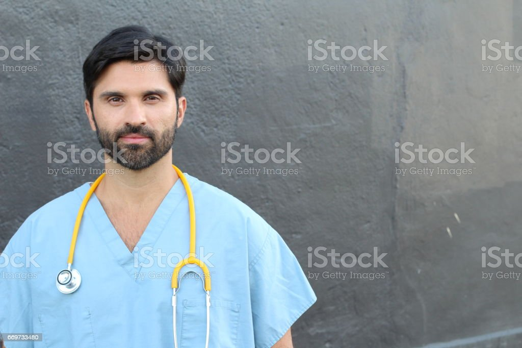 Doctor Portrait Smiling with Copy Space stock photo