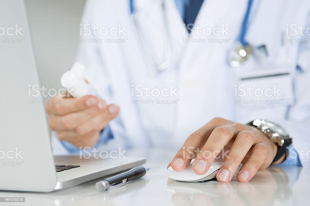 Doctor Prescribes A Medicine stock photo